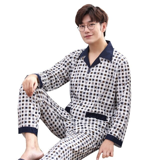 Men Pajama Suit Nightwear Collar Pijama Male Sleepwear