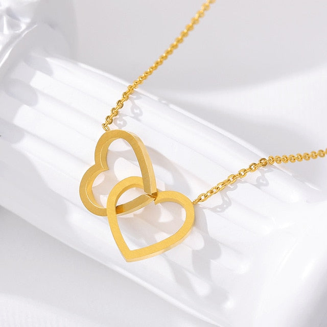Double Heart Lariat Pendant Necklaces For Women