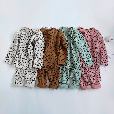 sleepwear kid Baby Boys Girls Pajamas Set  Children Kids Print Leopard pyjamas kids  Lounge Wear Cotton Girls pijama infantil