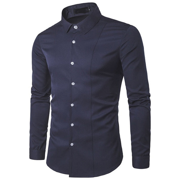 Men's Shirts 2018 Autumn New Arrival British Style Casual Long Sleeve Solid Male Business Slim Fit Shirt 4XL