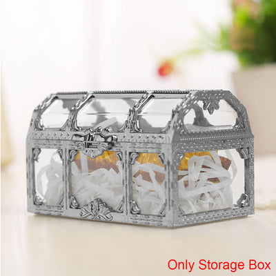 Desktop Home Treasure Storage Collectibles Candy Transparent Organizer Trinket Crystal Makeup Gem Jewelry Box Case Pirate Chest