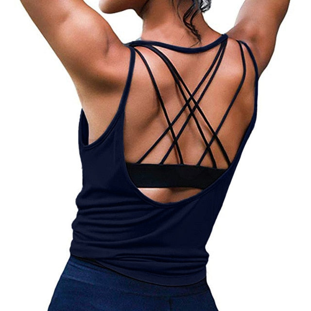 Open Back Activewear women's Padd Yoga Top Tank Woman Sports Vests Fitness Running Shirt Gym Workout Clothes