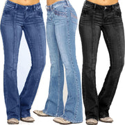 Women Jeans Mid Waist Denim Embroidery Stretch Button Flare