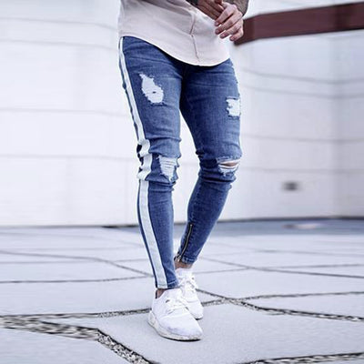 Distressed Ripped Freyed Slim Fit Zipper Jeans