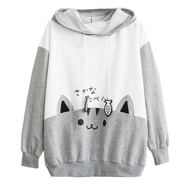 Women Sweatshirt Casual Long Sleeve Kitty Cat Print