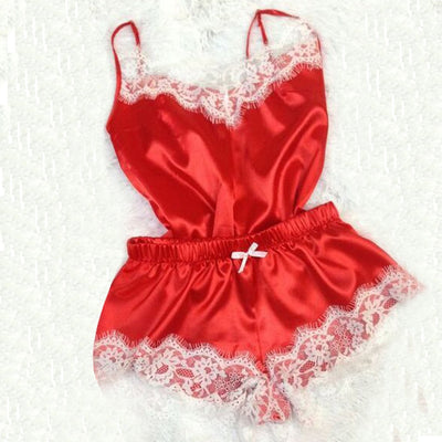 Sexy Lingerie Porno Babydoll Erotic Sleepwear Women Underwear Bow Lace Hot Sex Dress Fashion Temptation Satin Nightdress Suit FD