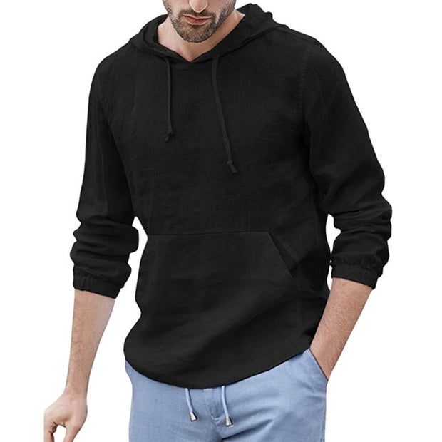 Men's Baggy Cotton Linen Hooded Pocket Sweatshirt