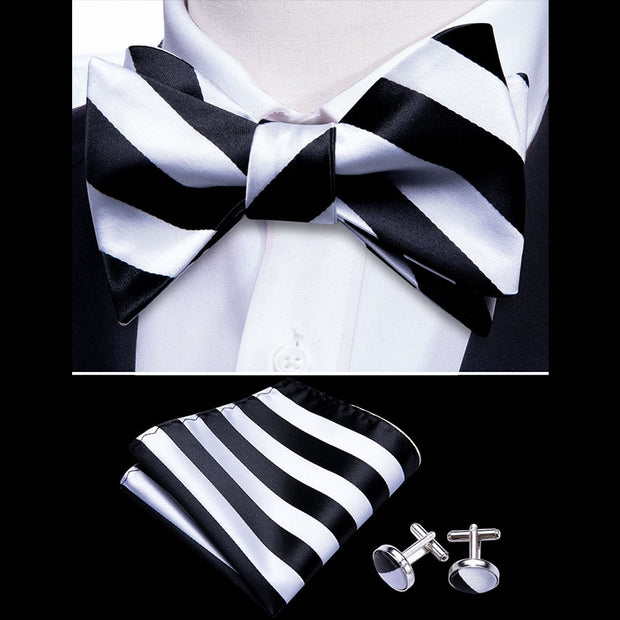 White Butterfly Self Bow Ties For Men