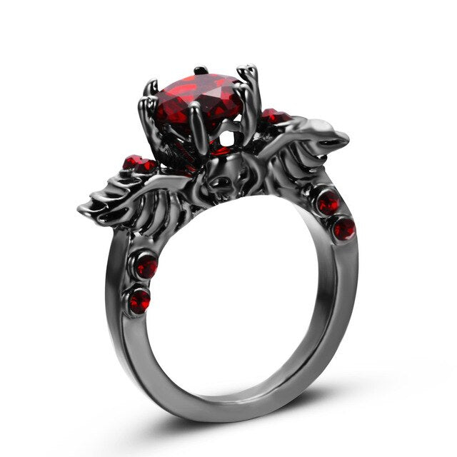 Skull Ring Black Zircon Women's Wedding Ring Punk Jewelry