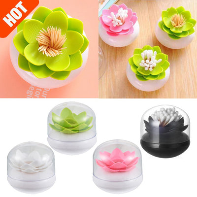 1pc Toothpick Holder Lotus Cotton Swab Box Creative Cotton Bud Holder Case Coverless Decorative Box Homeware Press Toothpick Box