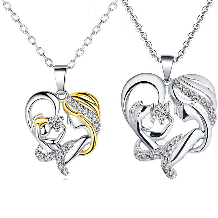Mother'S Day Gift Heart Shaped A Mother Holds Her Child'S Hand Necklace