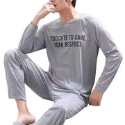 Men Cotton Pajamas Sets Letter Striped