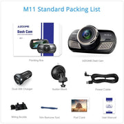 AZDOME M11 Dash Cam 3 inch 2.5D IPS Screen Full HD1080P Car Camera DVR Dual Lens Night Vision 24H Parking Monitor Dashcam GPS