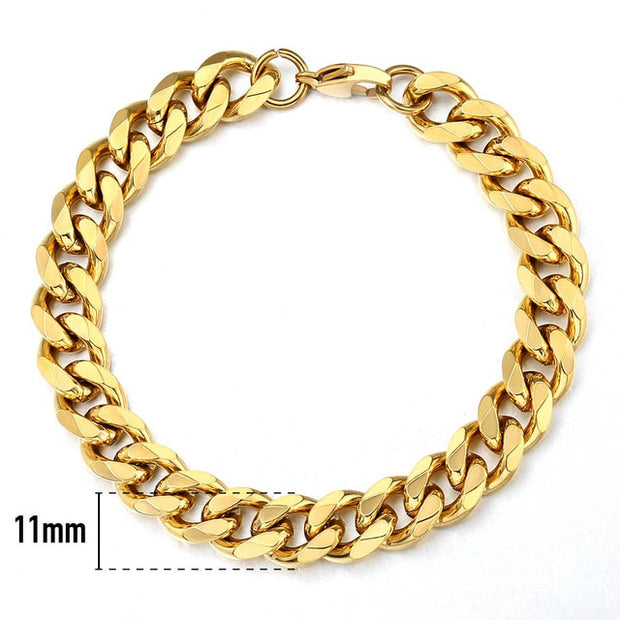 Fashion Womens Men's Stainless Steel Punk Silver Color Curb Link Chain Bracelet 3 5 7 9 11MM Bangle Bracelets Jewelry LKB214