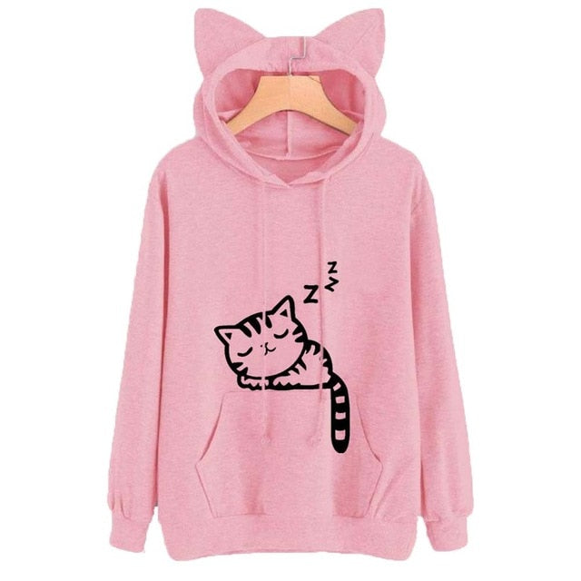 Cute Cat Print Cat Ear Kawaii Hoodie Long Sleeve