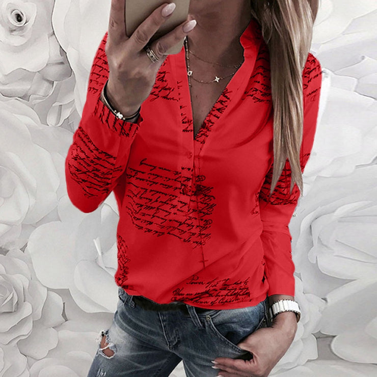 Women Blouse V Neck Letters Printing Button Long Sleeve Shirt Casual Womens Tops And Blouses Summer Tunic Tops Blusas 2019
