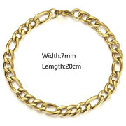 Womens Mens Bracelets 5/7/9mm Gold Silver Color Stainless Steel Figaro Link Chain Bracelet for Men Women 8-9inch Fashion LKBM171