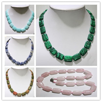 Natural Stone Necklace Crystal Square Beads for Women