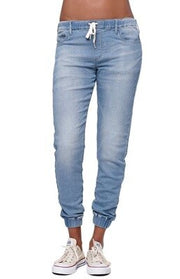 Spring Washed Jeans Women Solid Drawstring Straight Jeans
