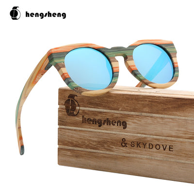 SKYDOVE Oval Color Wood Bamboo Sunglasses Woman Luxury Brand Women Sunglasses Designer 2020 Sun Glasses Men Retro