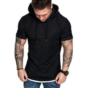 Slim Fit Casual Pattern Large Size Short Sleeve Hoodie Top