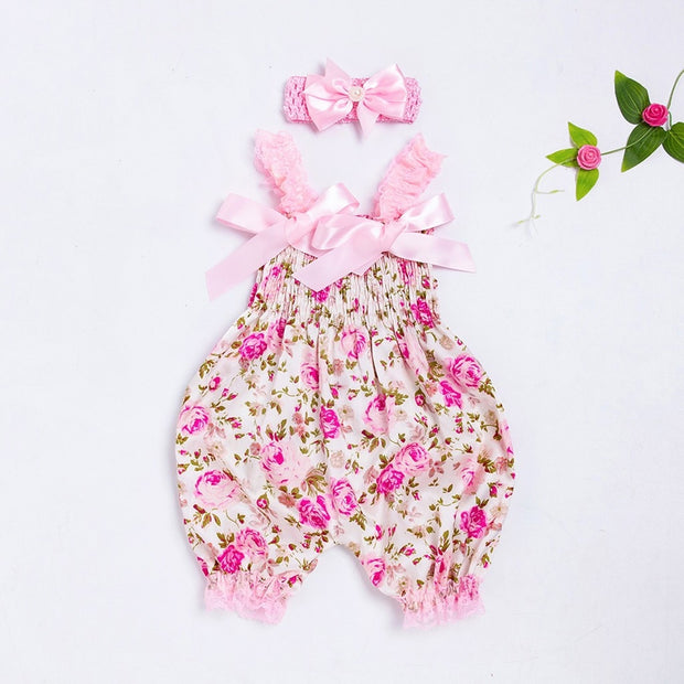 New Born Floral Jumpsuit+Headband Set Outfits