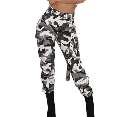 New Women Camo Cargo High Waist Hip Hop Trousers Pants