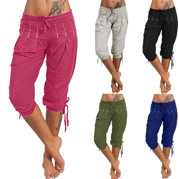 free shiping Women Fashion Summer Damenloose Haremshose Capri Baggy Harem Pants women