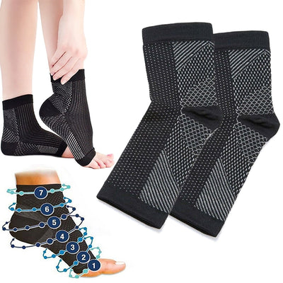 1 pair anti fatigue compression foot sleeve Ankle Support Running Cycle Basketball Sports Socks Outdoor Men Ankle Brace Sock