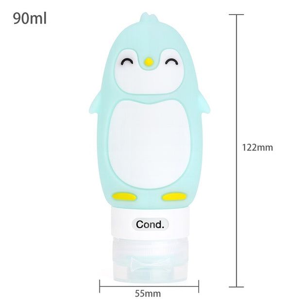 Outdoor travel portable squeeze bottle Multi-purpose cartoon animal modeling bottles Silicone cartoon empty bottle Baby Care Set