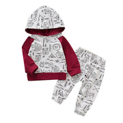 Newborn Infant Baby Boy set winter clothes Letter Cartoon Hoodie T Shirt Tops+ Pants Outfits Set kids clothing conjunto infantil