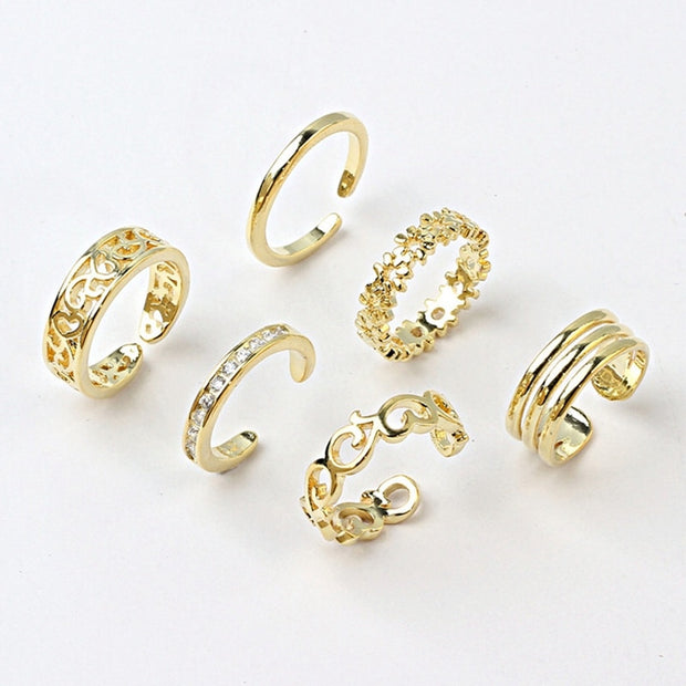 6PCS Adjustable Toe Ring For Women Girls Lower Knot Simple Knuckle Stackable Open Tail Ring Band Hawaiian Foot Jewelry