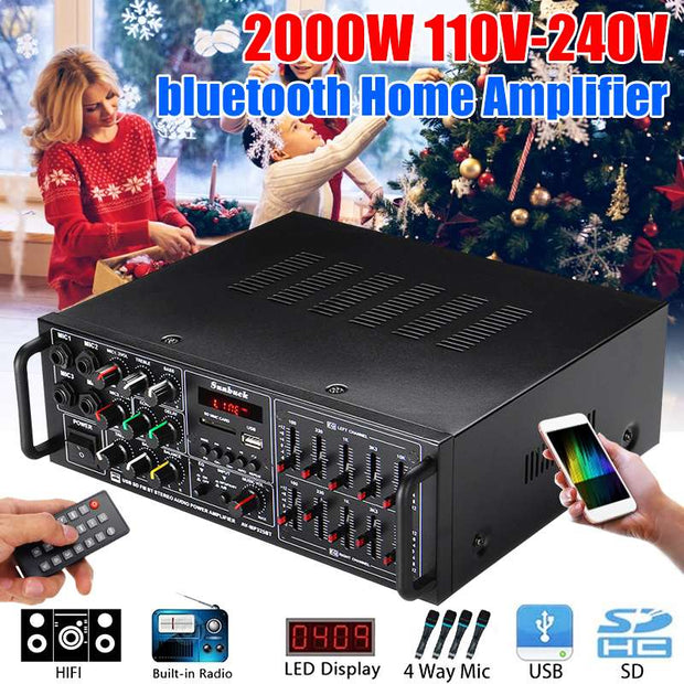 2000W 110-240V bluetooth Power Amplifier System Sound Audio Stereo Receiver Support 4 Way Microphone Input For Home Theater