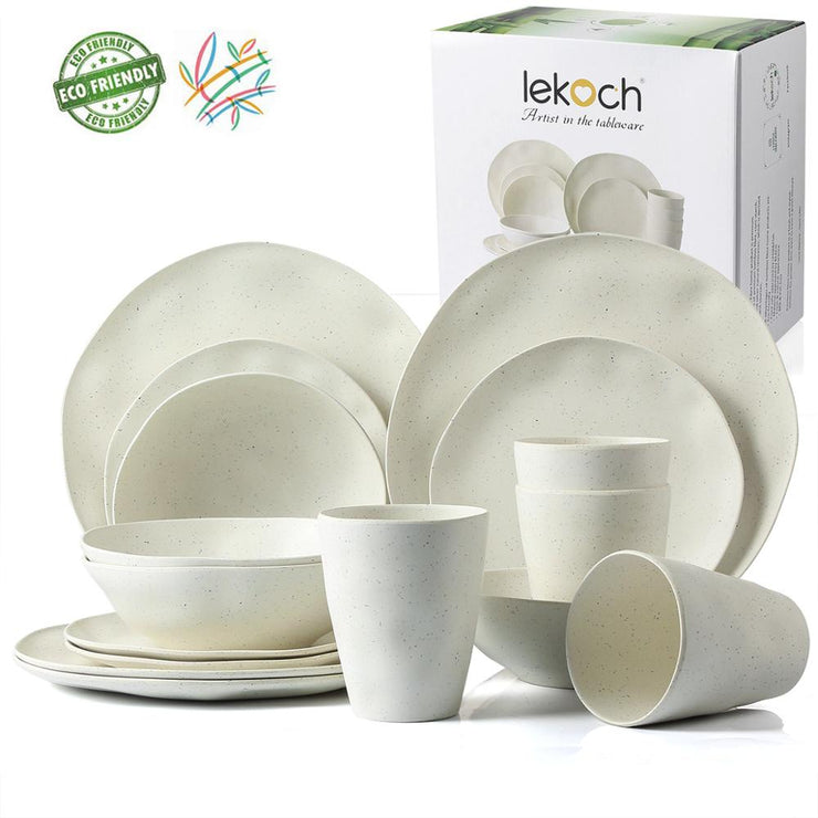 European Tableware 4pcs/16pcs Bamboo fiber Household Dishware Set