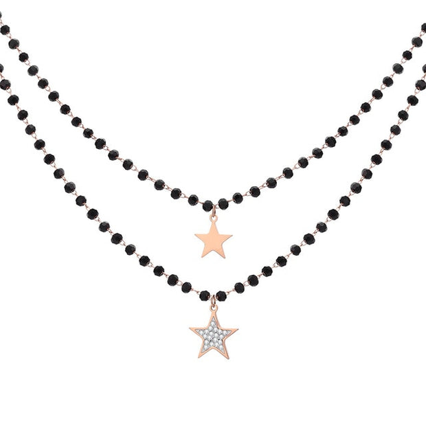 Fashion Double Layer Black Crystal Beads Necklace For Women Stainless Steel Star Choker Necklace Women's Jewelry femme Bijoux