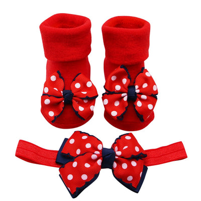 Baby Infant Socks +1PC Hair Belt Toddler Girls Bow Wave Point Anti-slip Socks Newborn Baby Socks Active Baby Clothes Accessories