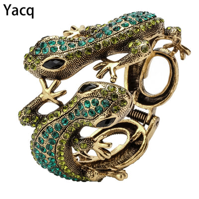 YACQ Gecko Bangle Bracelet Antique Gold Silver Color Animal Bling Crystal Jewelry Gifts for Women Her Girls Dropshipping A08