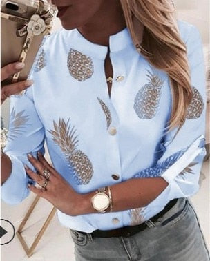 Sfit Women's Shirt Ananas White Long Sleeve Women's Blouse  2020 Womens Tops And Blouse Top Female Autumn New Plus Size 5xl