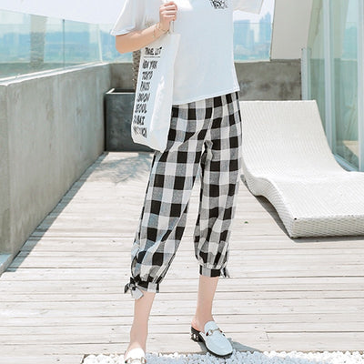 Korean Style Women Casual Loose Plaid Print Capris