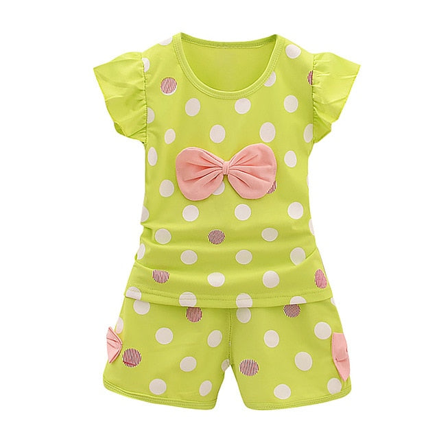 Toddler Baby Girls 2PCS Cotton Bowknot Dot T Shirts Shorts Pants