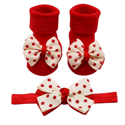 Newborn Baby Socks +1PC Hair Belt Toddler Girls Bow