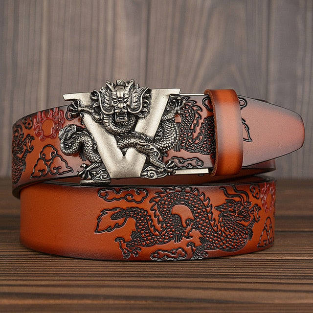 Hot China Dragon Designer Belt Men Cowskin Genuine Luxury Leather