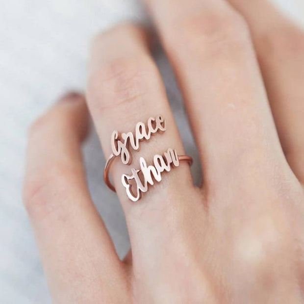 Custom Double Name Ring