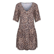Women Loose Dress Open Leopard Splice Print