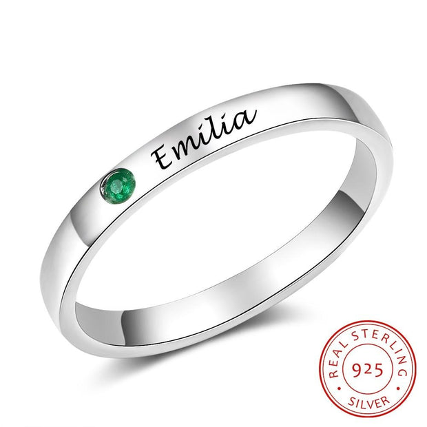 Sterling Silver Personalized Name Ring