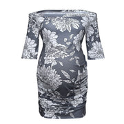 Women Pregnancy Shirts Solid Short Sleeve Off Shoulder Tops