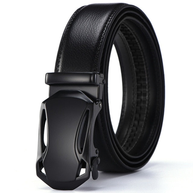 New Male Designer Automatic Buckle Cowhide Leather