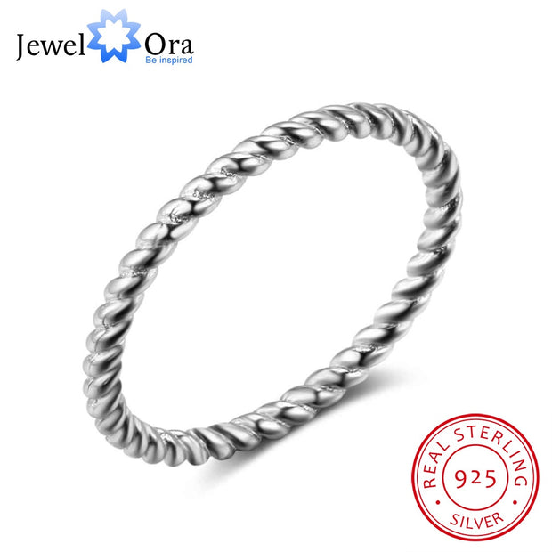 New 925 Sterling Sliver Rings for Women Rope Shape Rings Fashion Silver Jewelry Engagement Anniversary Gift (JewelOra RI102772)