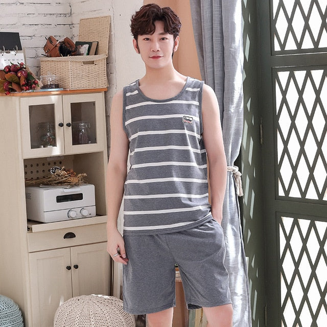 Men's Pajamas Set - Summer Thin Cotton Male Pajamas and Vest Sleepwear