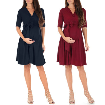 Maternity Pregnant Dress Short Sleeve Solid Color